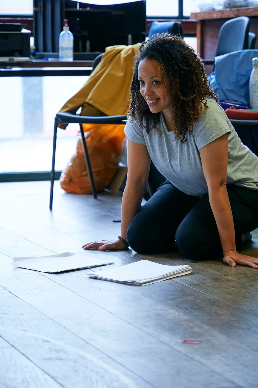 Cat Simmons (Jackie) in rehearsal for Mum. Photo by The Other Richard.