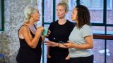 Denise Black (Pearl), Sophie Melville (Nina) and Cat Simmons (Jackie) in rehearsal for Mum. Photo by The Other Richard.