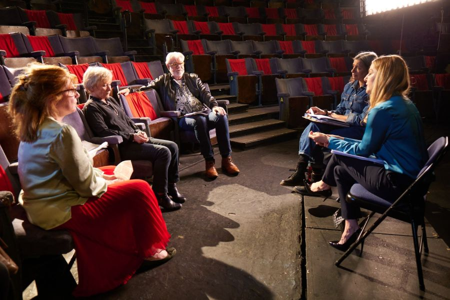 L-R Felicity Montagu, Penny Ryder, Matthew Kelly, Shobna Gulati and Sarah Hadland filming Going the Distance directed by Felicity Montagu. Photo by Ian Wallman