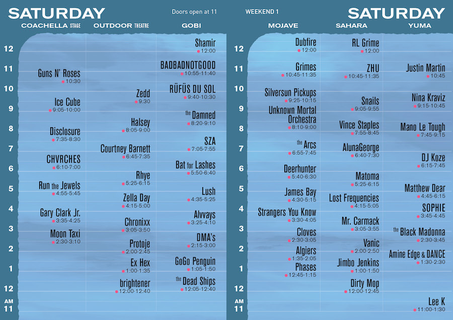Coachella 2016 Saturday settimes