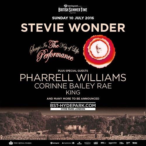 British Summer Time 2016: Pharrell confirmed as Stevie Wonder support