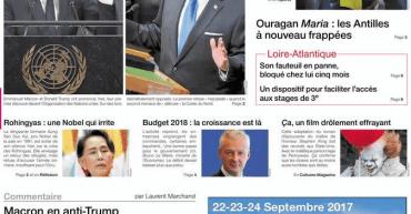 Une de Ouest-France du 20 septembre 2017
