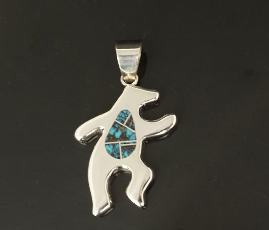Earl Plummer sterling silver turquoise inlay dancing bear pendant