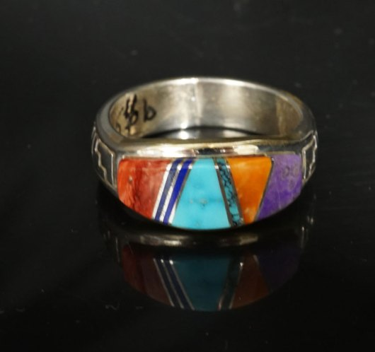 Earl Plummer Inlaid Sterling Silver Rug Design Ring
