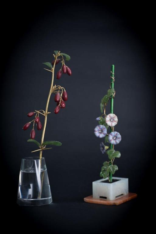 Pair of Faberge flowers at Hansons
