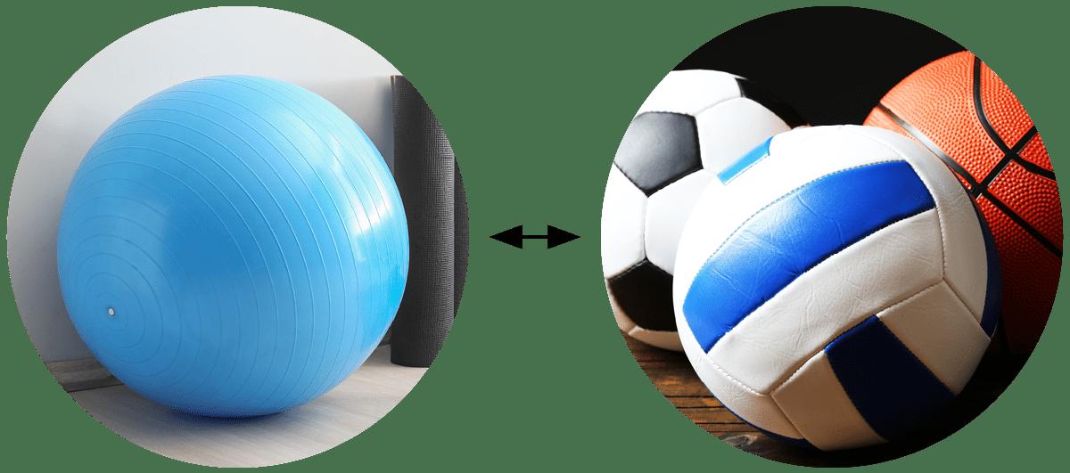 Pilates Ball = Circular Pillow, Volleyball, Soccer Ball
