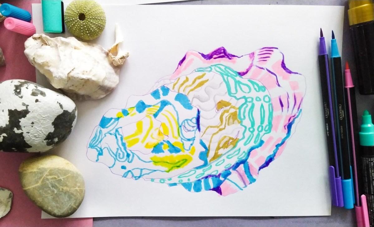 Exploring shells and pebbles at Destress drawing