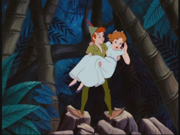 Peter recues Wendy from a fall...