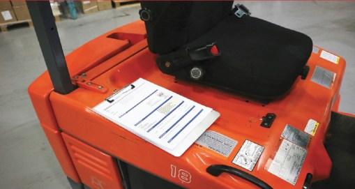 Magnetic Clipboard on Forklift