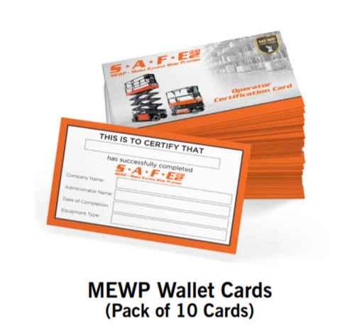 Scissor Lift MEWP Wallet Cards