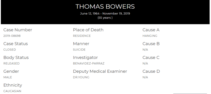 Thomas Bowers coroner report