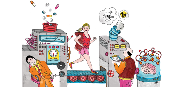 illustration of factory with pills coming out of machine, woman running, man sleeping at his desk