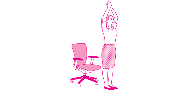 women stretching, taking a break from office chair