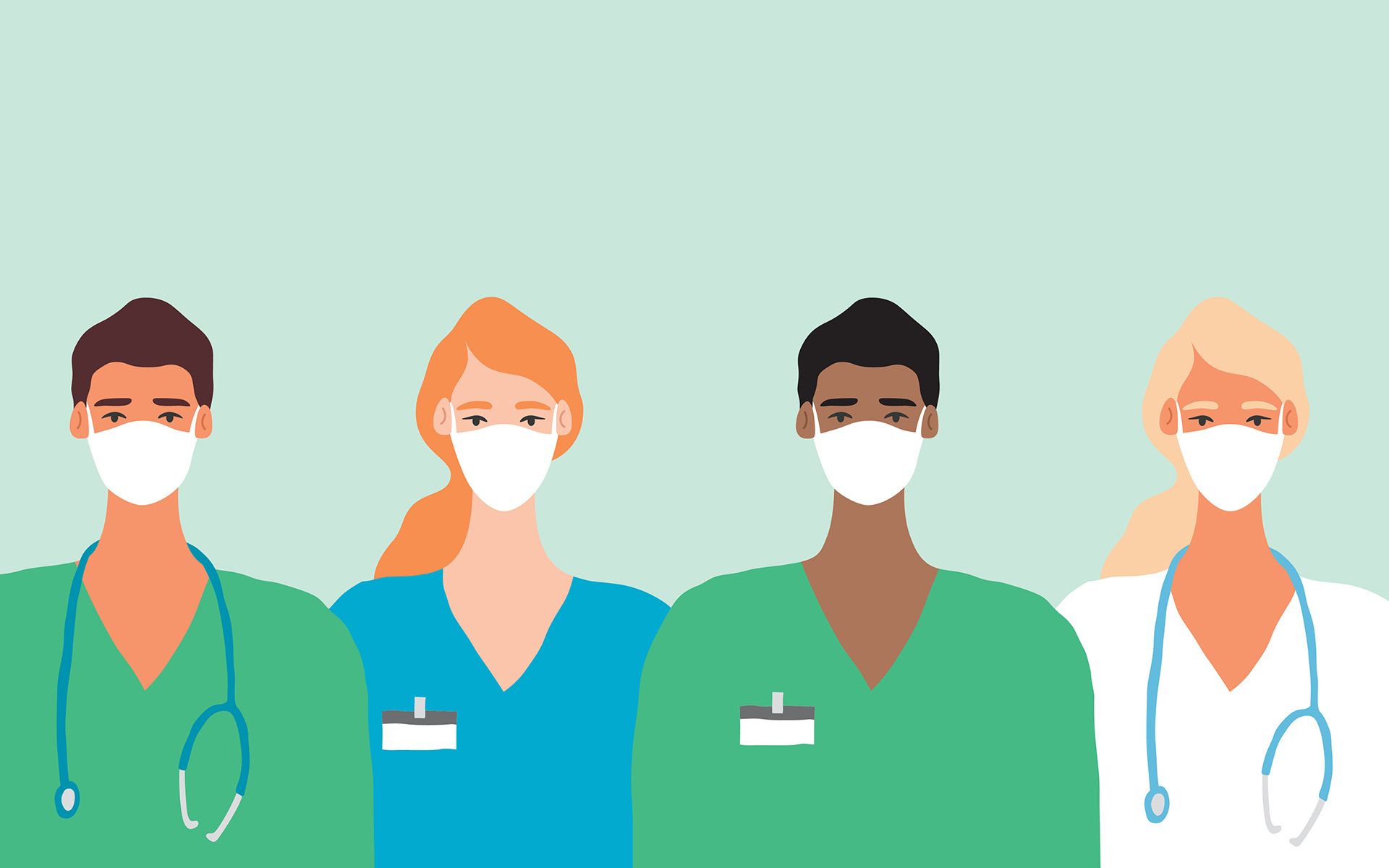 8 Mindful Ways Healthcare Workers Can Reduce Stress - Doctor in Mask Coronavirus Frontline Illustration