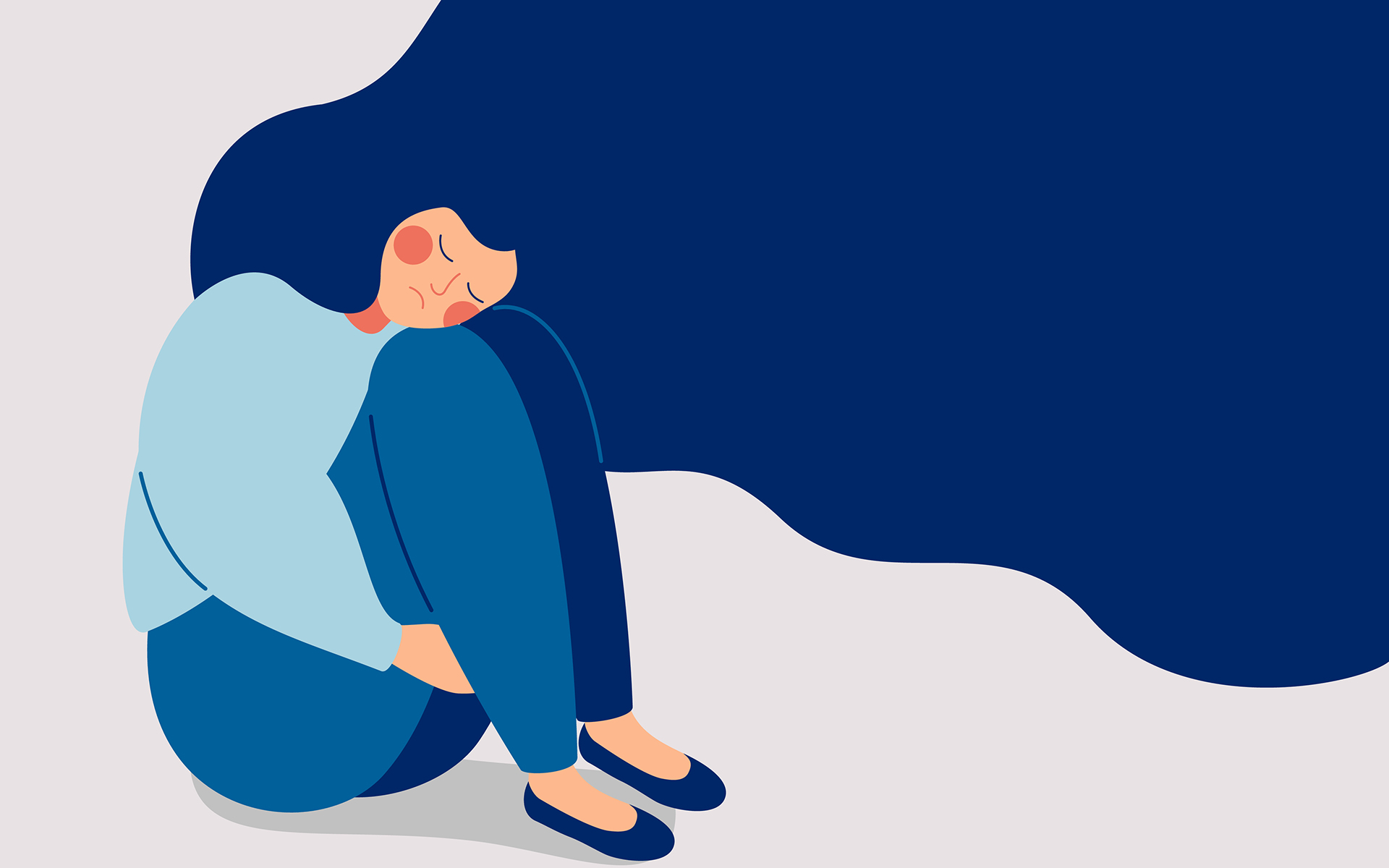 Illustration of blue-haired woman hugging her knees looking sad