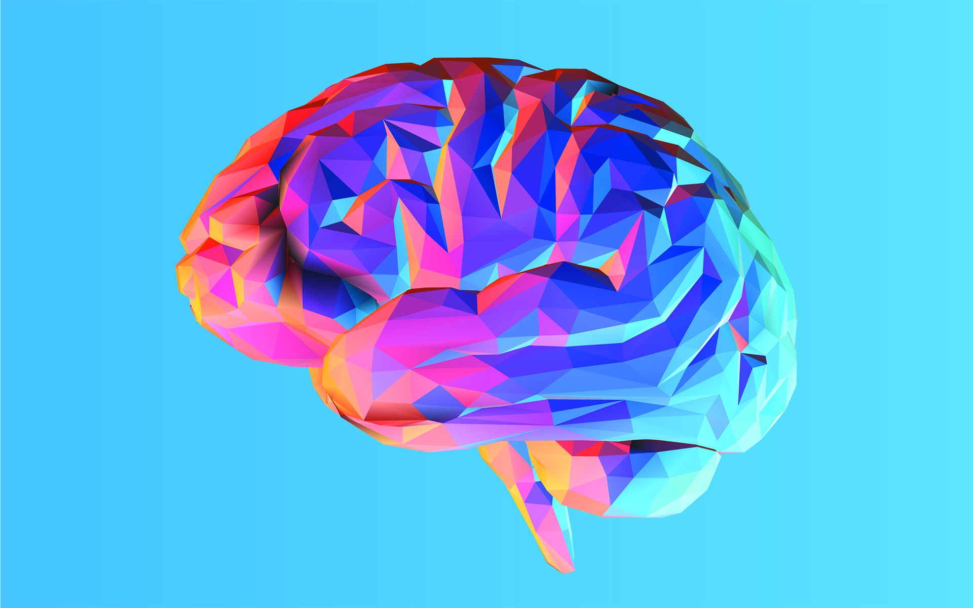 How Your Brain Creates Your Sense of Self - Colorful side view brain illustration isolated on blue background