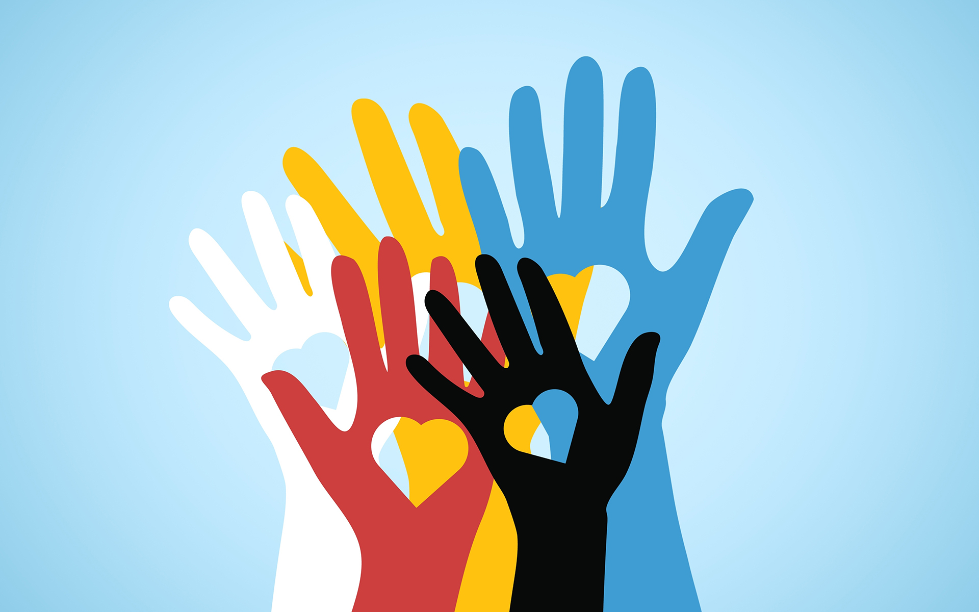 5 mindful habits to fight bias every day - Multicolored volunteers hands with heart shaped