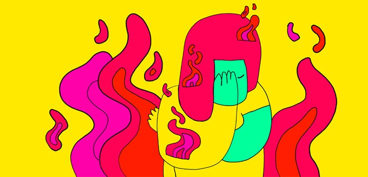 illustration woman with hand on forehead, surrounded by colorful fire symbolizing stress