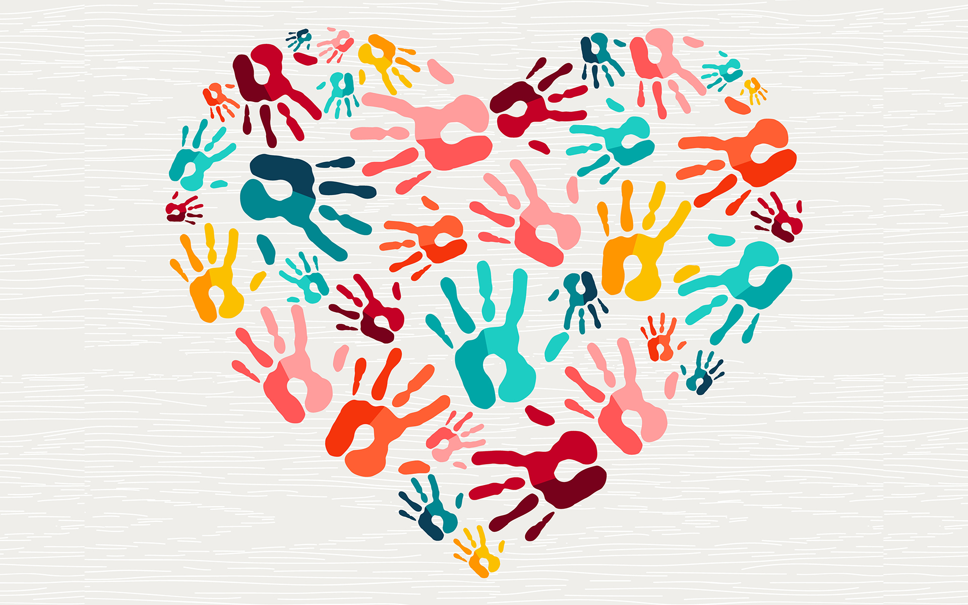 Human hand print heart shape love concept