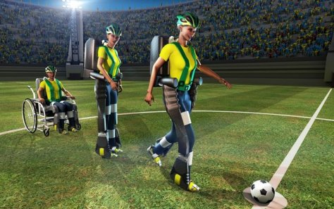 An artist's impression of one of the ground-breaking medical event due to take place at the Sao Paulo, Brazil 2014 Footbal World Cup opening ceremony. Image: Walk Again Project