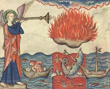 A Biblical illustration showing the Trumpet of Revelation, God's Mountain of Fire, and the Leviathan sea monster.