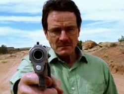 """A photograph showing actor Bryan Cranston playing Tv series """"Breaking Bad""""'s character Walter White."""