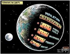 A cartoon depicting planet Earth running on empty, with a population of 7 billion and low meters on fossil fuels, wilderness, fisheries and water.