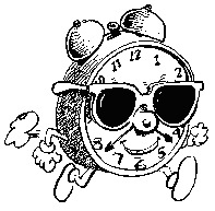 """A cartoon showing an """"actual"""" running clock, complete with hands, feet and sunglasses!"""