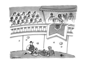 A cartoon from the New Yorker, showing baseball players inside a Roman circus-like arena.