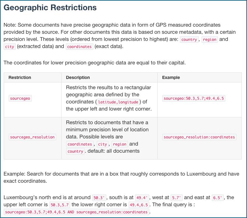 Syntax zu Programmierung der Suchanfragen - Geolokation