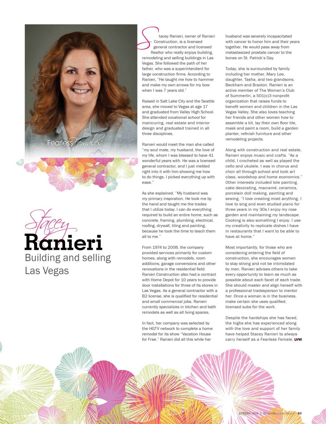 Stacey Ranieri - Fearless Female article - Las Vegas Woman Mazazine