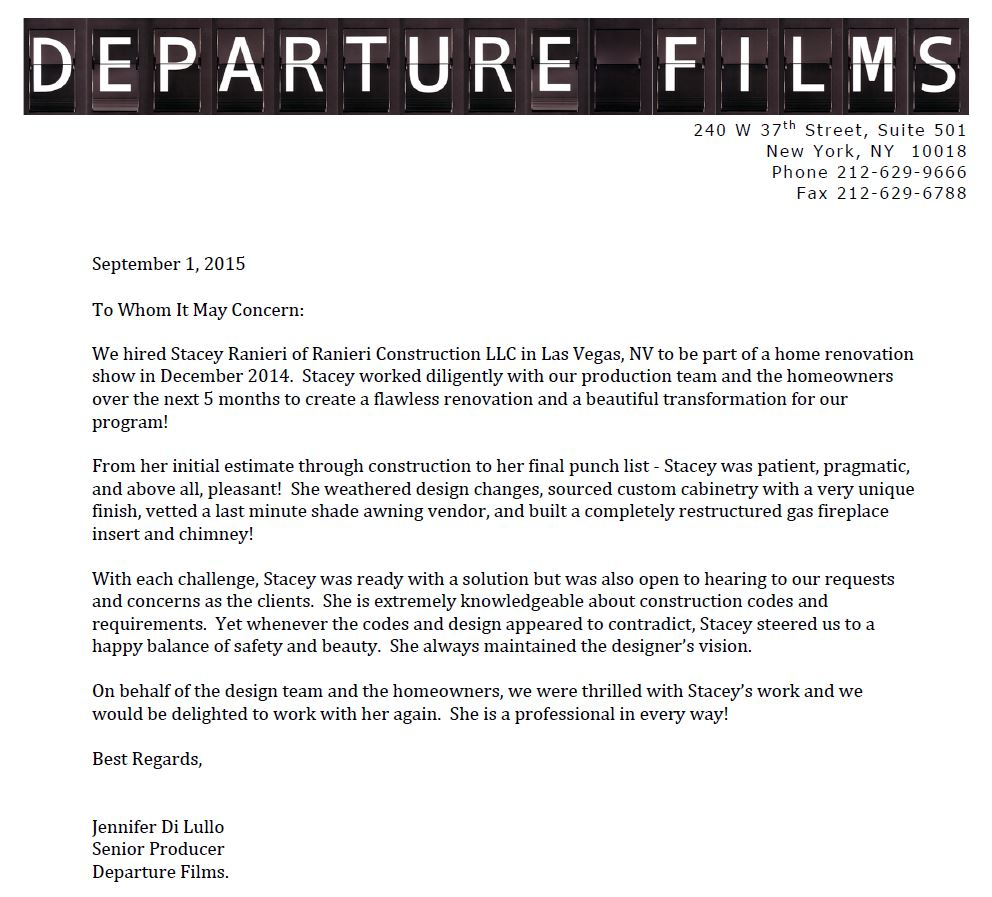 Ranieri Construction News - a letter from Senior Producer at Departure Films