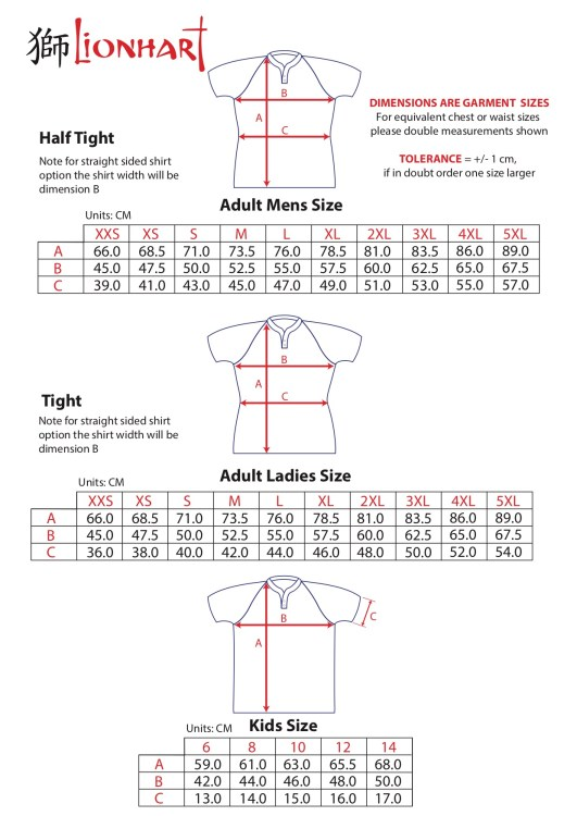 New Shirt Order Form sizes