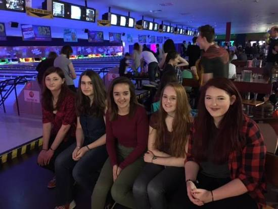 One of the teams at the Junior Tenpin Bowling evening