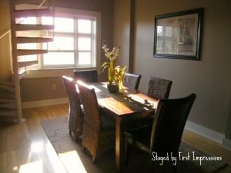 staged loft dining room