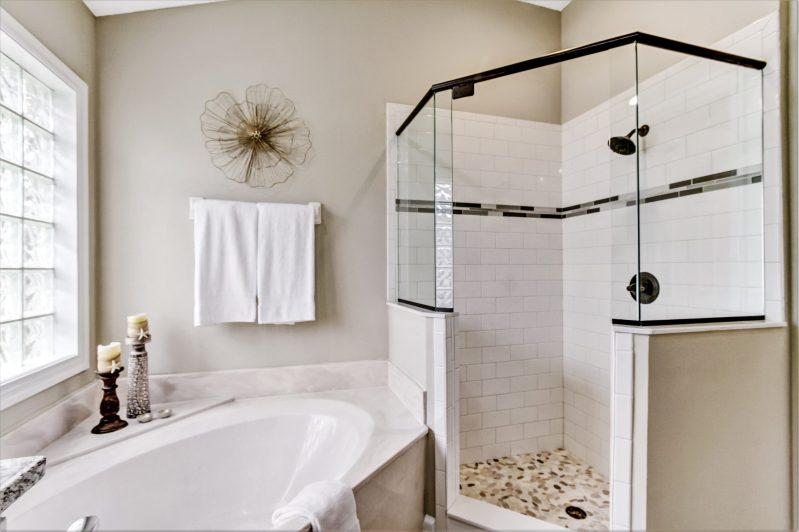 Staged bathroom in home for sale