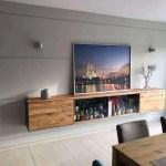 Barschrank Sideboard Hangend Holz Eiche Metall Modern Design Glas Stahlzart