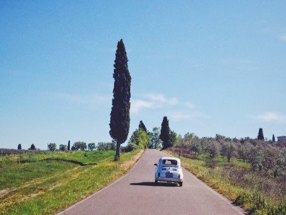 Driving in the Tuscany countryside
