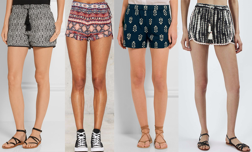 colorful printed shorts