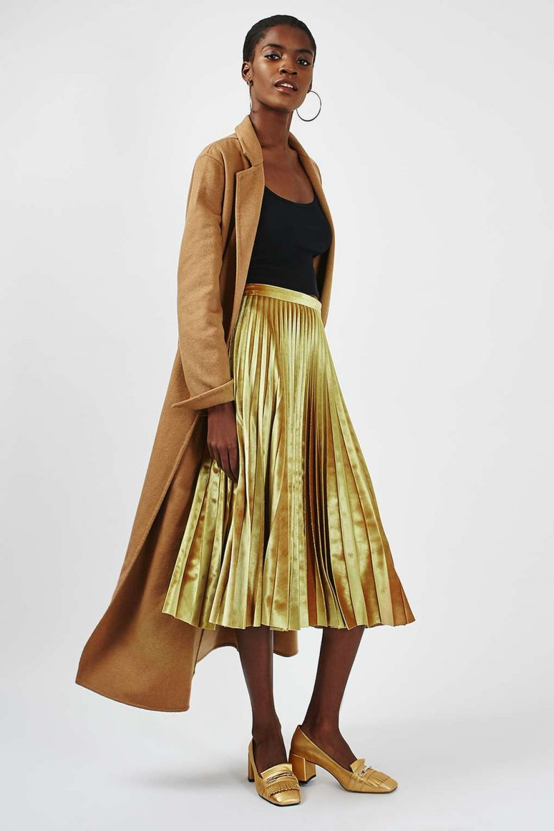 velvet midi pleated skirt