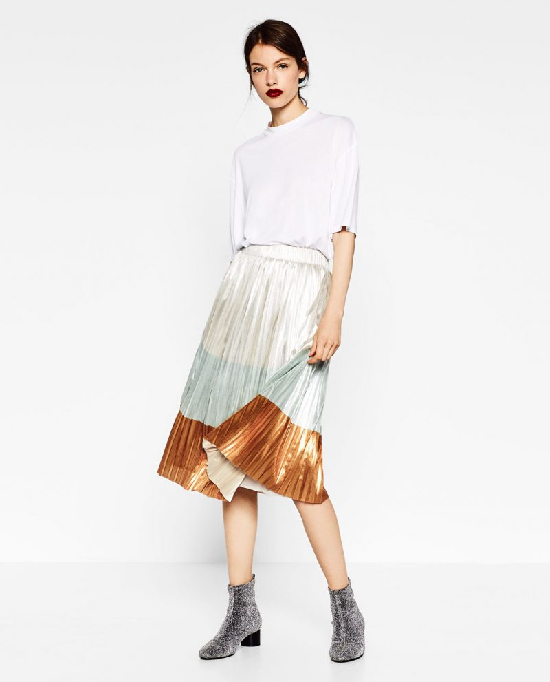 zara-shiny-pleated-skirt