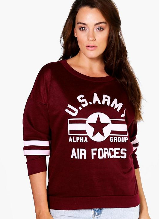 stylish graphic sweatshirt us army