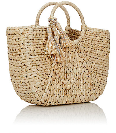 circle handle straw bag