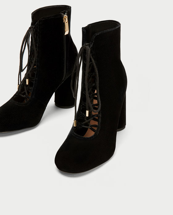 Velvet Lace-Up booties