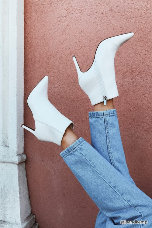 Forever 21 white ankle boots