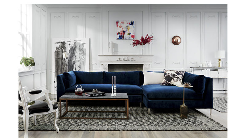 CB2 Decker Blue Velvet Sectional