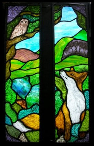 Fox and the Owl stained glass