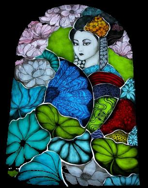 Geisha-dancer Stained-Glass