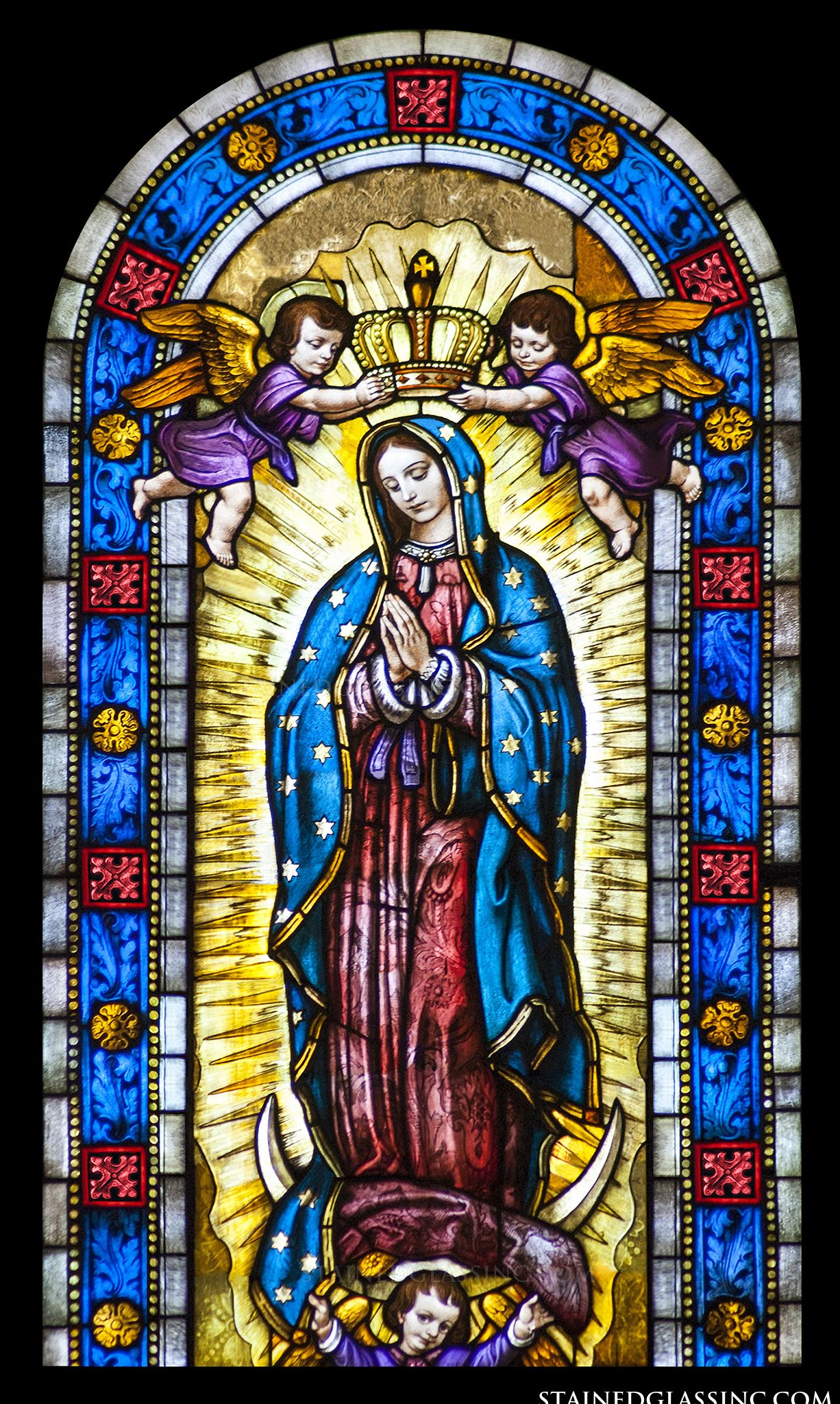 Virgin Of Guadalupe Religious Stained Glass Window