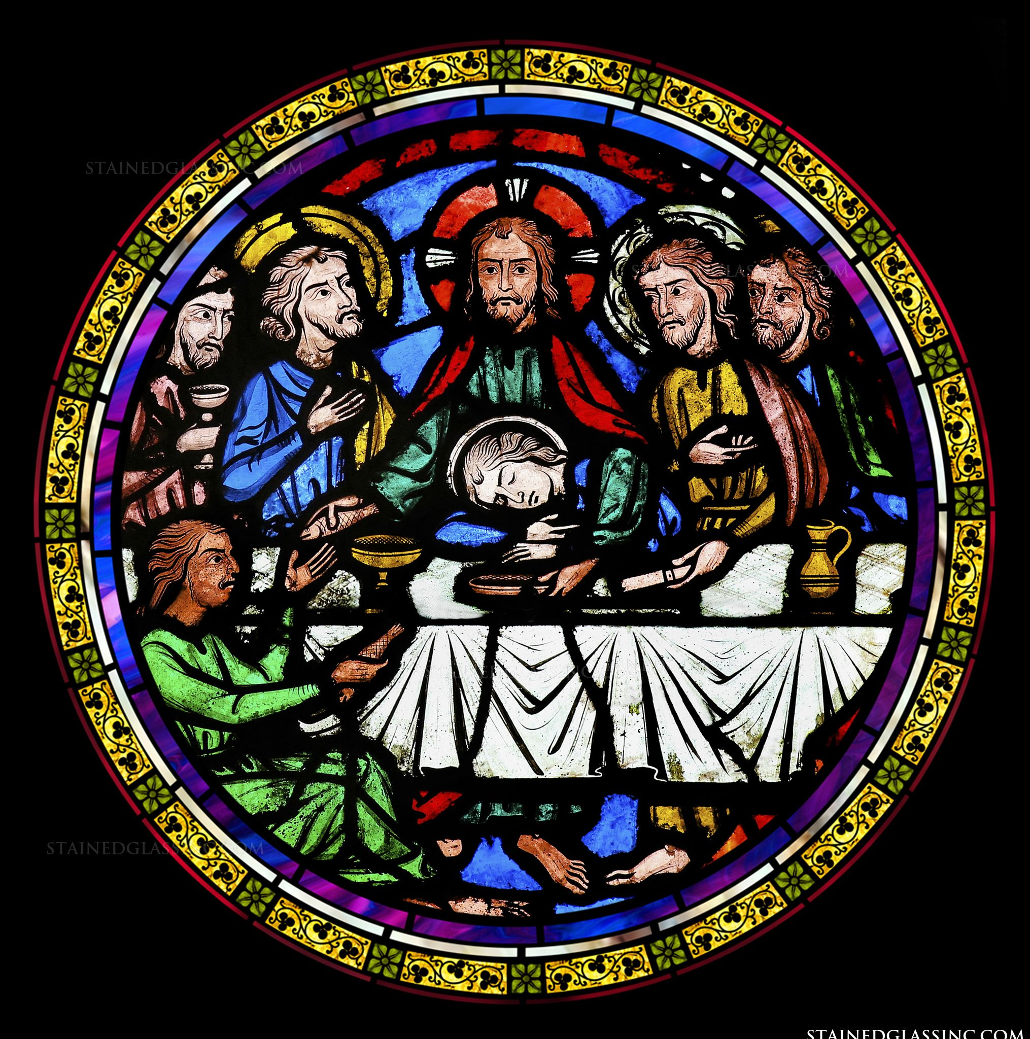 The Last Supper Round Religious Stained Glass Window